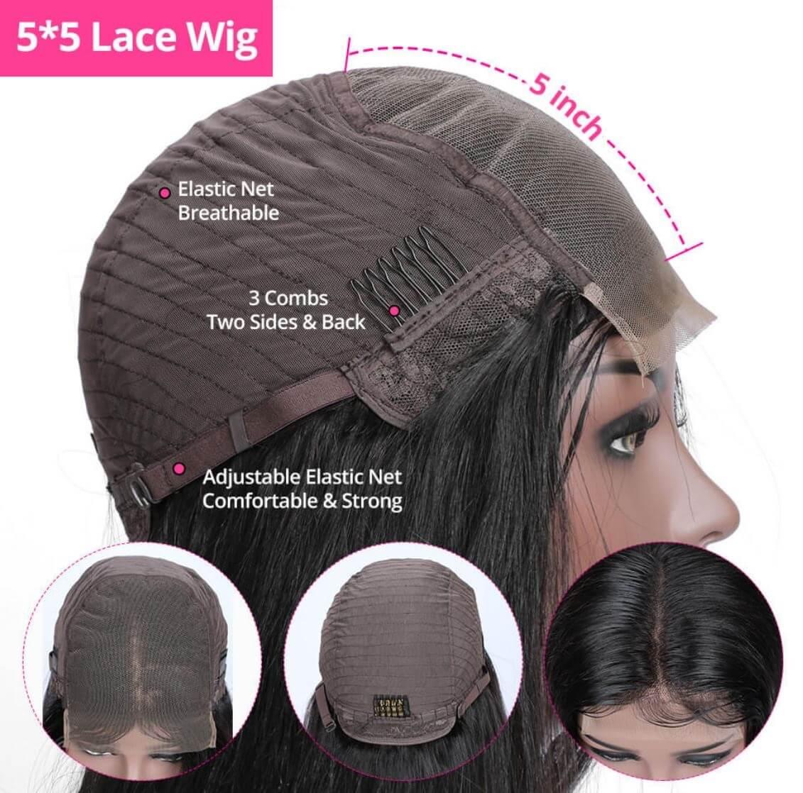 Lace Closure peruk äkta hår
